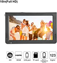 10 inch Portable Digital Television, Small 16:9 ATSC 1080P HD HDMI Video Player TFT LED TV Built-in Rechargeable Battery Support USB and TF Card for Car, Caravan, Camping, Outdoor or Kitchen