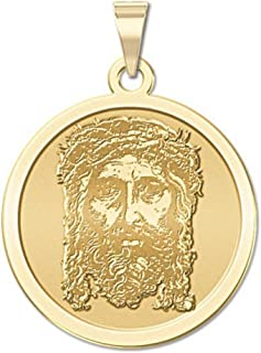 PicturesOnGold.com Holy Face of Jesus Round Religious Medal - 2/3 Inch Size of Dime, Solid 14K Yellow Gold
