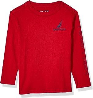 Nautica boys Long Sleeve Arm Logo Crew Neck Tee Shirt