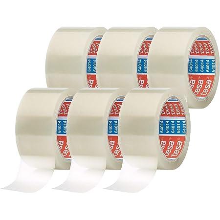 Tesapack 64014 en Paquet de 6 - Ruban Adhésif à déroulement silencieux pour Emballage des Colis et des Boîtes d'Expédition - Transparent - 6 Rouleaux de 66 m