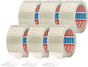 tesa64014 6-pack - geluidsarm pakketplakband voor het verpakken van pakketten en verzenddozen - transparant - 6 rollen elk...
