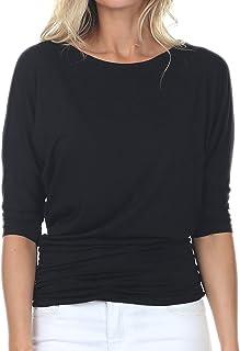 iliad USA Womens 3/4 Sleeve Side Shirring Drape Dolman Top Black