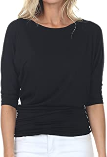 Womens V-Neck/Boat Neck 3/4 Dolman Sleeve Side Shirring Drape Basic Top Regular & Plus Size
