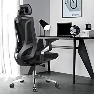 Ergonomic Office Desk Chair High Back Mesh Desk Chair with 4D Adjustable Arm Rests Computer Chair Height Adjustable and Head Support 3 Adjustable Tilt Tension - Black