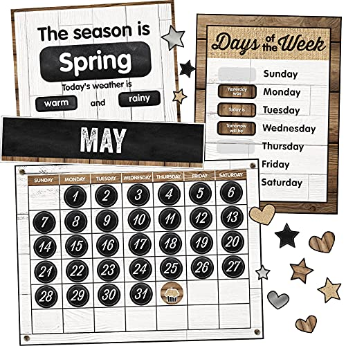 Schoolgirl Style Industrial Chic Bulletin Board Set—Farmhouse Monthly Calendar  Rustic Heart  Star  Cupcake Birthday and Special Occasion Accents  Seasons and Days of The Week Charts  (95 pc)