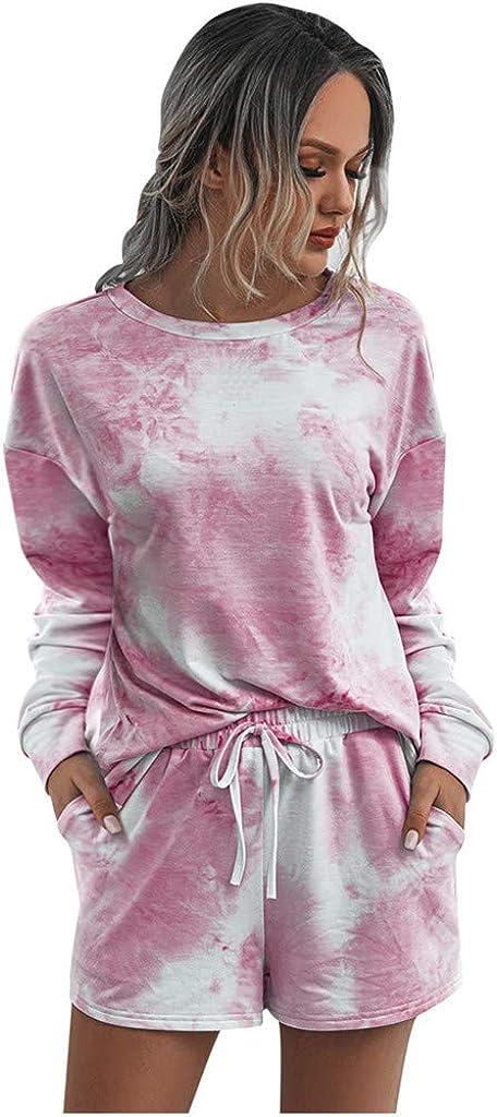 Hessimy Tie Dye Pajamas for Women,Women Pajamas Tie Dye Print Long Sleeve Shirt Shorts Pant PJ Set Sleepwear Loungewear