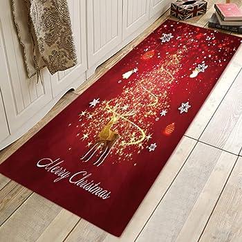 Handfly Alfombra de Navidad Santa Alfombras de área grande Alfombra antideslizante Lavable Alfombra para dormitorio Sala de estar Cocina Baño Baño Pasillo