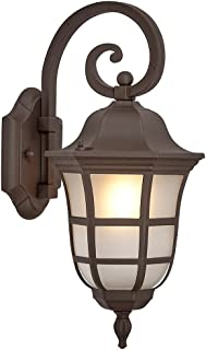 Traditional Gooseneck Downward Outdoor Wall Sconce Light | Classical Matte Bronze Finish with Frosted Glass | Exterior Lighting LED Bulb 2700K Included
