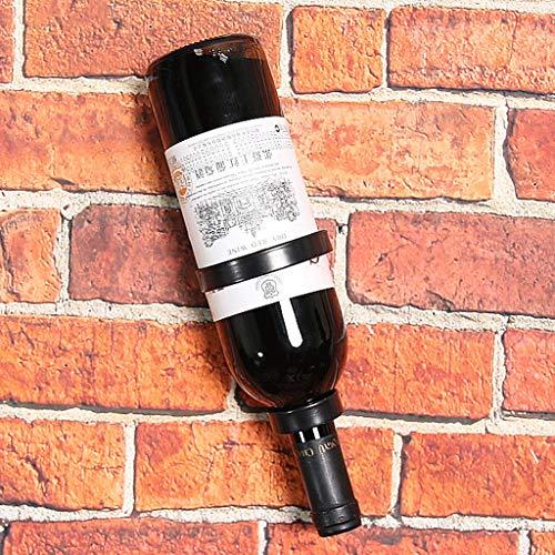 Schmiedeeisen-Weinregal/Einzelwand-Weinausstellungsstand/Umgedrehte Weinflasche-Rack-Anzeige (Color : Black)