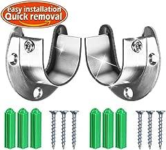 Wardrobe Bracket Heavy Duty Stainless Steel Rod Socket Flange Rod Holder Closet Rod End Supports, 1-1/3