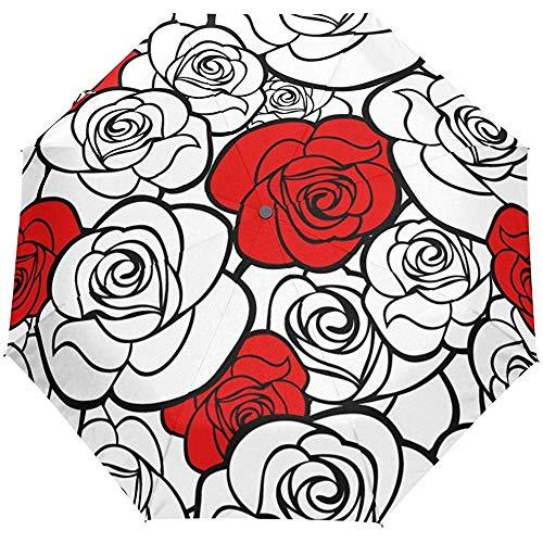 Ombrello rosso floreale d'annata della pioggia del sole di Rose White Auto Open Close