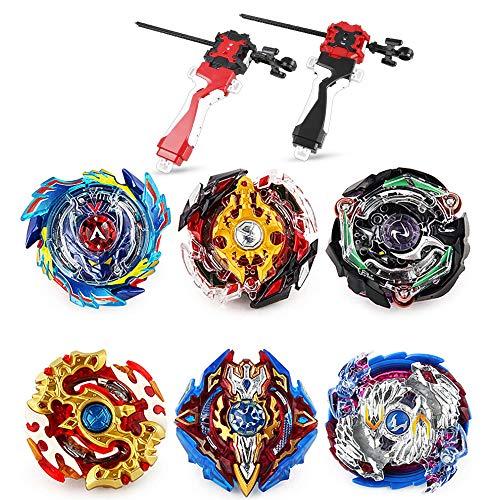 infinitoo 6pcs Toupie Burst Set avec 2 Lanceurs, Toupie Gyro de Combat Métal Fusion, Battle Set Jouets, pour Enfants Adulte
