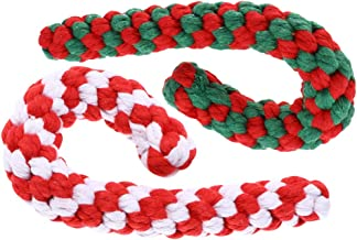 CLISPEED 2pcs Christmas Pet Chew Toys Candy Cane Rope Bite Toy Cotton Teething Cleaning Chew Toy for Puppy Medium Dogs