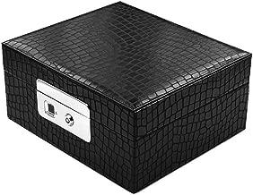 SYNL Caja De Almacenamiento De Joyería De Moda con Bloqueo De Huellas Dactilares, Desbloqueo 0.5S, Antirrobo De Seguridad, Organizador Resistente Al Agua, Soporte De Carga USB,Black