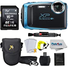 Fujifilm FinePix XP140 Digital Camera + 16GB SD Card + Case + Floating Strap + Cleaning System +Memory Card Wallet + Screen Protectors - Top Value Bundle (Sky Blue)