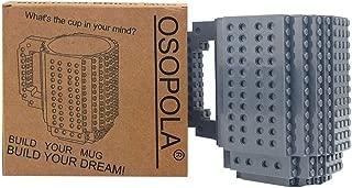 OSOPOLA Build-On Brick Mug Building Blocks Coffee Cup Creative DIY Party Supply Drinkware for Coffee Tea Beverage Drinking Funny Gift (Gray )