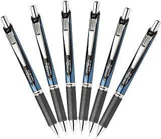 Pentel EnerGel Deluxe RTX Retractable Liquid Gel Pen, 0.7mm Medium Line, Needle Tip, Black, Pack of 6