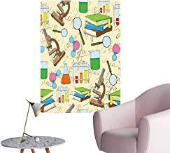Alexandear Kids Scenery Wall Sticker Science Education Lab Sketch Books Equation Loupe Microscope Molecule Flask Print Sofa Background Wall Multicolor W16 x H20