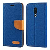 Meizu M15 Plus Case, Oxford Leather Wallet Case with Soft