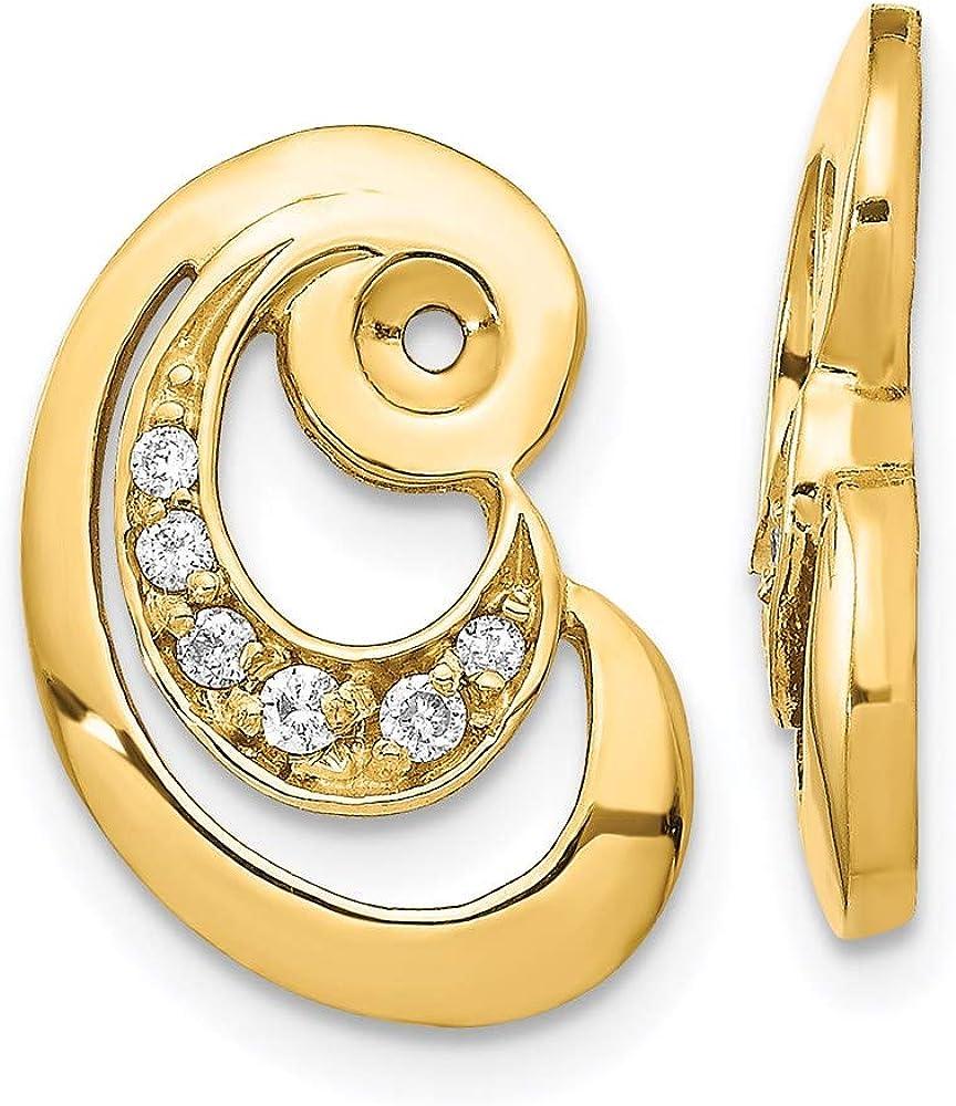 14k Fancy Curl Diamond Earring Jackets Mountings 17mm 11mm style XJ30