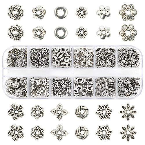 Outuxed 360 Stück Metallperlen Perlenkappen Silber Spacer Perlen Zwischenperlen von 12 Stilen Schmuck Zubehör für Armband Halskette Schmuckherstellung