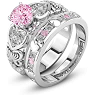 Auwer Rings, 2-in-1 Womens... Auwer Rings, 2-in-1 Womens Vintage White Diamond Silver Engagement Wedding Band Ring Set