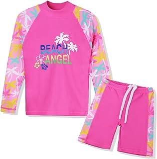 طقم ملابس سباحة TFJH E للفتيات بعامل حماية من الأشعة فوق البنفسجية 50+ من قطعتين طويلة الأكمام ملابس السباحة Rash Guard 3-12Y