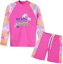 TFJH E Girls Swimsuit UPF 50+ UV Two Piece Long Sleeve Swimwear Rash Guard Sets Kids 3-12 Years