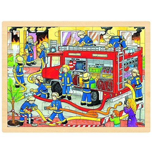 GOKI- Puzzles de Madera Encaje, Bomberos En Acción, Multicolor (57527)