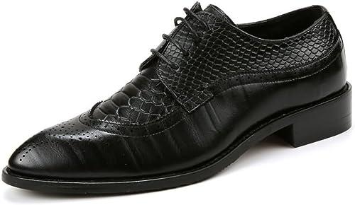 CHENDX Chaussures, Décontracté Affaires Oxfords pour Hommes Hommes Hommes Bout Pointu Talon Plat Chaussures en Cuir PU à Lacets Souples (Couleur   Noir, Taille   43 EU) 652