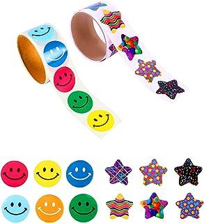 JOOEE 2 rullar motiverande belöning klistermärken för barn smiley ansikte och stjärna klistermärken lärare klistermärken (...