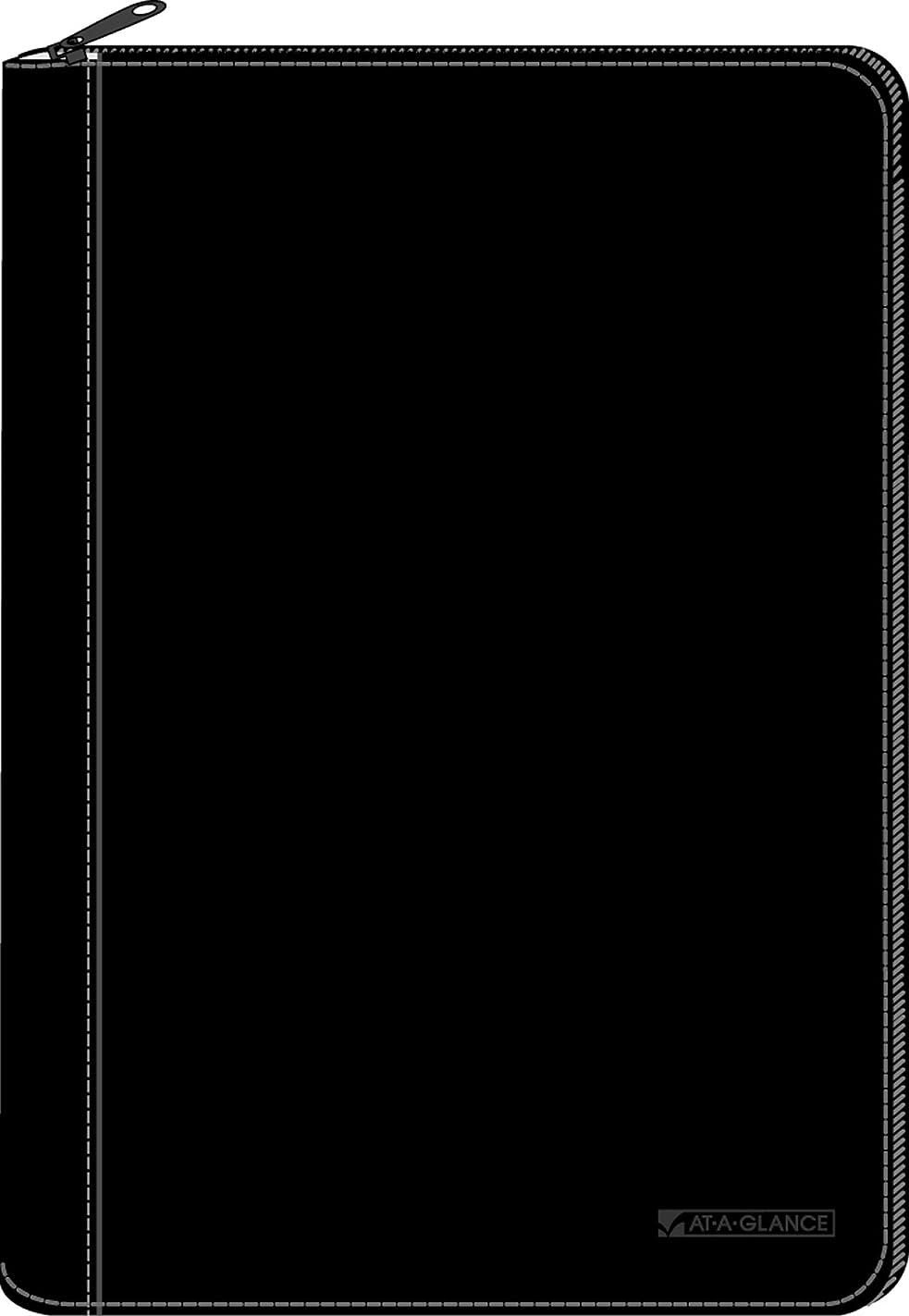脱走運搬背骨At-A-GLANCE 80PJ1F05デスクプランナーカバー、4-7 / 8x8インチ、メモ帳、バイリンガル、黒