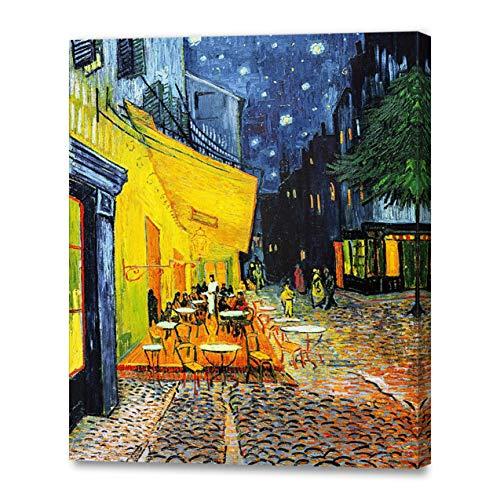 アートパネル 印象派油絵 壁掛け絵画 壁飾り フィンセント・ファン・ゴッホの絵画作品 (40CM×50CM、Cafe Terrace at Night、夜のカフェテラス)