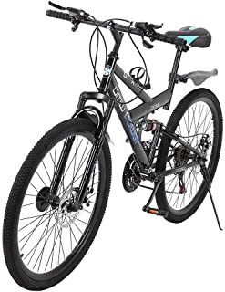 acction Adult Mountain Bikes 26 Inch Mountain Trail Bike High Carbon Steel Full Suspension MTB Speed Bicycles 6 Spoke 21 Speed ??Gears Dual Disc Brakes Outdoor Mountain Bicycle - US Stock