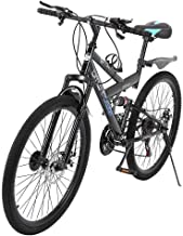 acction Adult Mountain Bikes 26 Inch Mountain Trail Bike High Carbon Steel Full Suspension MTB Speed Bicycles 6 Spoke 21 Speed Gears Dual Disc Brakes Outdoor Mountain Bicycle - US Stock