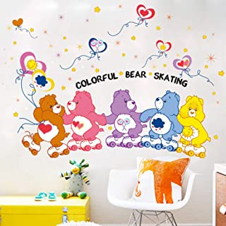 ASDFGHT Wall Sticker Color Bear Skating Children'S Room Kindergarten Playground Wall Decoration Love Stars Wallpaper Art M...