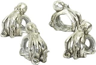 Koyal Wholesale Octopus Animal Napkin Rings, Set of 4, Unique Nautical Napkin Rings for Wedding, Thanksgiving, Christmas, Easter, Elegant Modern Gift Ideas (Octopus, Silver)