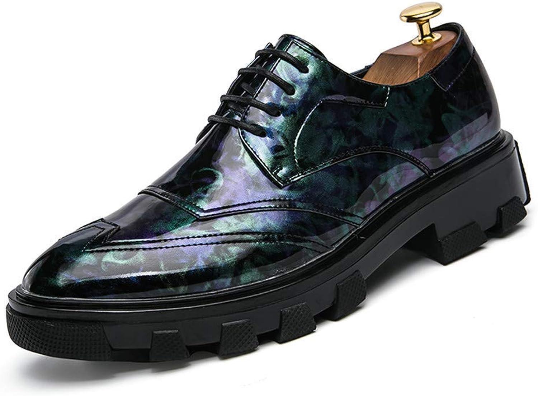2018 Men's Business Oxford Casual Wear Comfortable Thick British Style Patent Leather Brogue shoes (color  Amaranth, Size  41 EU) (color   bluee, Size   43 EU)