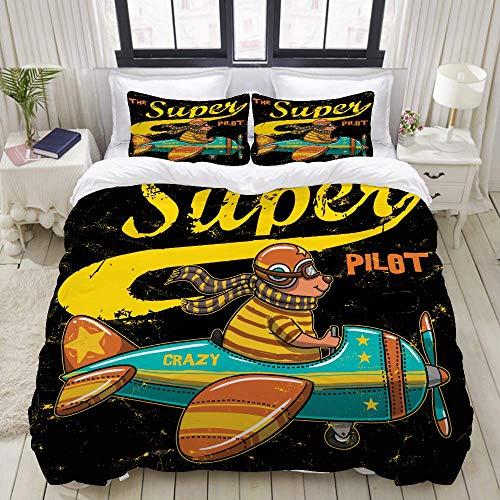Juego de Funda nórdica, gráfico de Camiseta Super Animal Lindo de Pilot, Juego de Cama Decorativo Colorido de 3 Piezas con 2 Fundas de Almohada
