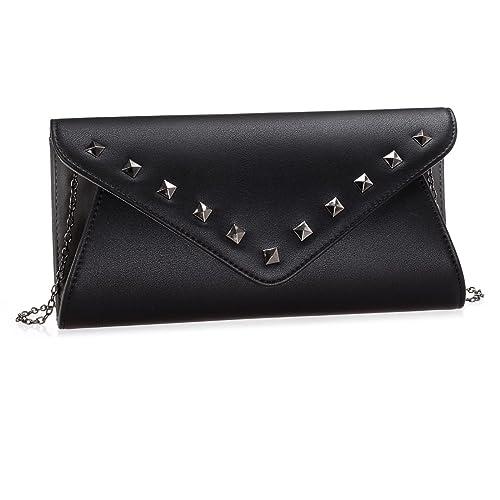 503c343182 BMC Womens Faux Leather 2 Tone Rivet Accent Envelope Flap Fashion Clutch  Handbag