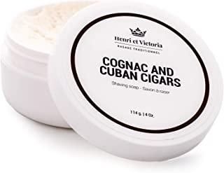 Henri et Victoria Shaving Soap For Men | Cognac and Cuban Cigars Shaving Cream Fragrance | Smooth Shave, Lathers Up Nicely, Long-Lasting Scent | Canadian Made by Skilled Artisan 114 g (4 oz)