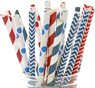 Independence Day Drink Straws, Red, Blue & White Straw Set, 4th of July Straws, America Party Straws (25 Pack) - USA Patriotic Military July 4th Straws