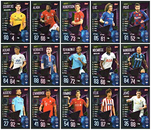 MATCH ATTAX 19/20 Full Set of Fifteen (15) Super Squad Trading Cards - Champions League - Europa League