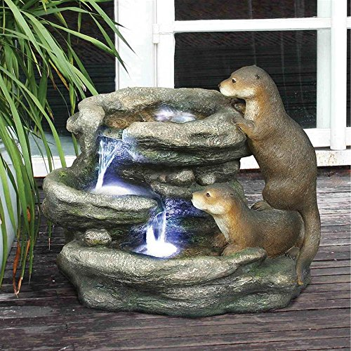 Madison Collection Bright Water Otters Garden Fountain