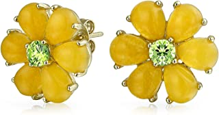 CZ Button Style Yellow Dyed Jade Flower Stud Earrings For Women 14K Gold Plated 925 Sterling Silver