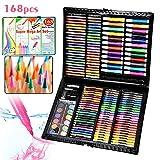 UISEBRT 168 - Set di matite colorate per bambini, con pastelli a cera, acquerelli, pastelli, gomma, pastello a olio, ecc.