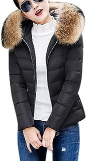 JESPER Women Winter Warm Faux Fur Hooded Short Slim Cotton-Padded Jackets Coat Casual