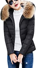 ThePass Women Down Coats Winter Warm Jackets Faux Fur Collar Hooded Thicker Short Slim Cotton-Padded