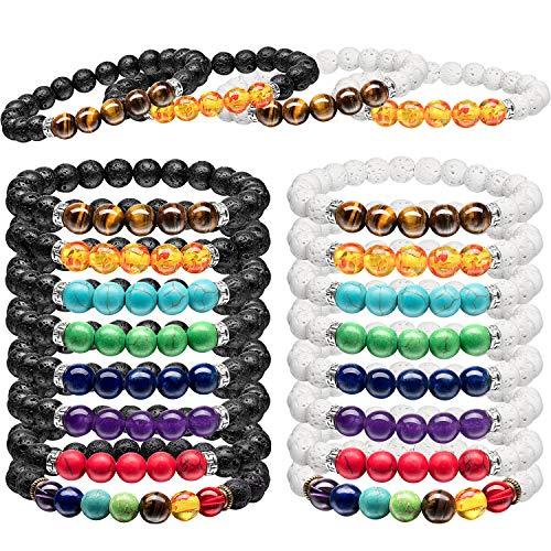 16 Pieces Lava Rock Stone Bracelet Chakras Oil Diffuser Bracelet for Women Man