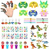 54 Pieces Dinosaur Party Favors Set Includes Dinosaur Figures Puppets, Tattoos, Stamp, 3D puzzles, Masks and Bracelets, Realistic Finger Toys for Kids Birthday Party Christmas Classroom Reward